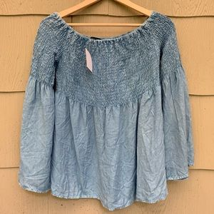 Style Envy | Chambray Off Shoulder Blouse | S